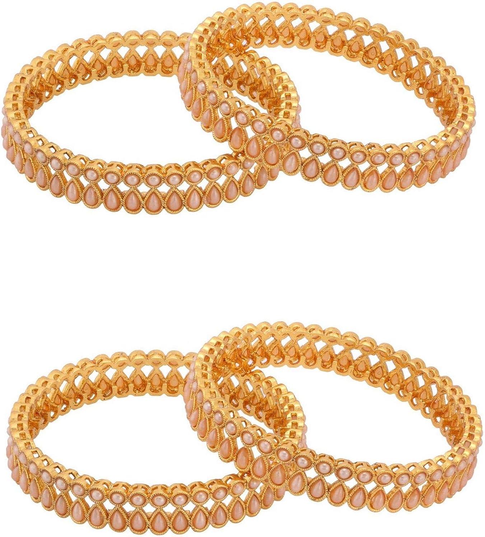Efulgenz Indian Style Bollywood Traditional Gold Plated Faux Pearl Stone Wedding Bridal Bracelet Bangle Set Jewelry