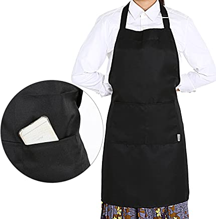 GWHOLE Plain Unisex Apron with 2 Front Pocket for Chefs Butchers Kitchen Cooking Craft Baking, Black