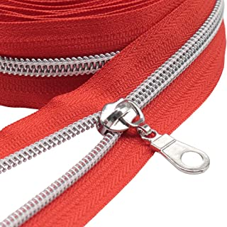MebuZip #5 Silver Metallic Nylon Coil Zippers by The Yard Bulk Coil Zipper Roll 10 Yards with 25pcs Pulls for DIY Sewing C...