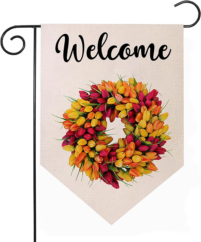 Long Beach Mall Guaikeai Floral Topics on TV Tulips Wreath Welcome Garden 18 Inch Flag x 12.5