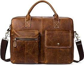 Businesstasche aus Leder im Vintage Look Braun Blueorn Elio Ledertasche Umh/ängetasche Laptoptasche 14 Zoll Arbeitstasche