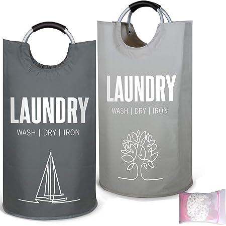 Ensemble de paniers à linge transportables gris - 2 corbeilles de rangement en polyester pour le linge - Poignées en aluminium - 1 filet à linge