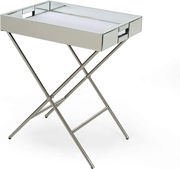 Great Deal Furniture 308292 Grace Glam Mirrored Tray Top Accent Table Silver