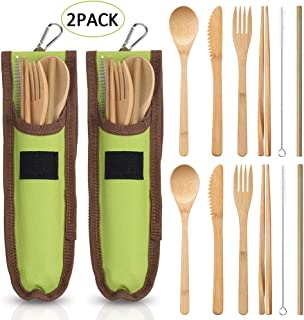 Bamboo Travel Utensils Set,2 Pack Reusable Bamboo Cutlery Flatware with Travel Case,PortableBamboo Fork Knife Spoon Chopsticks Straw Cleaning Brush for Picnic Travel Camping or Everyday Use