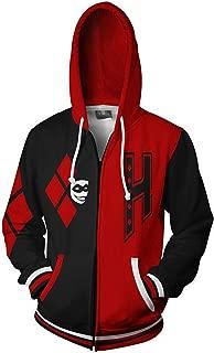 JUANLI Womens Mens Sweater 3D Print Clown Suicide Team Harley Quinn Zipper Hoodies Hooded Sweatshirt with Pocket