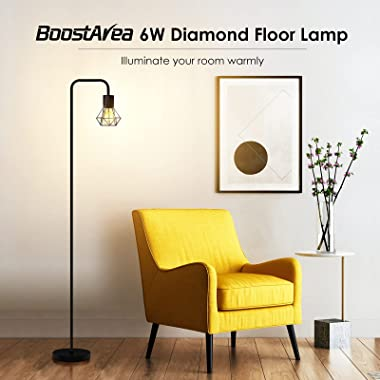 Floor lamp, Industrial Floor Lamp, Standing Lamp with 6W LED Bulb, E26 Socket, On and Off Footswitch, Whole Metal, Modern Flo