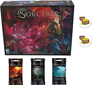 Bundle of Sorcerer Base Game and The Virgiliu Character, Sylvanei Lineage, and Bloodsoaked Fjord Domain Decks Plus 2 Treasure Chest Buttons
