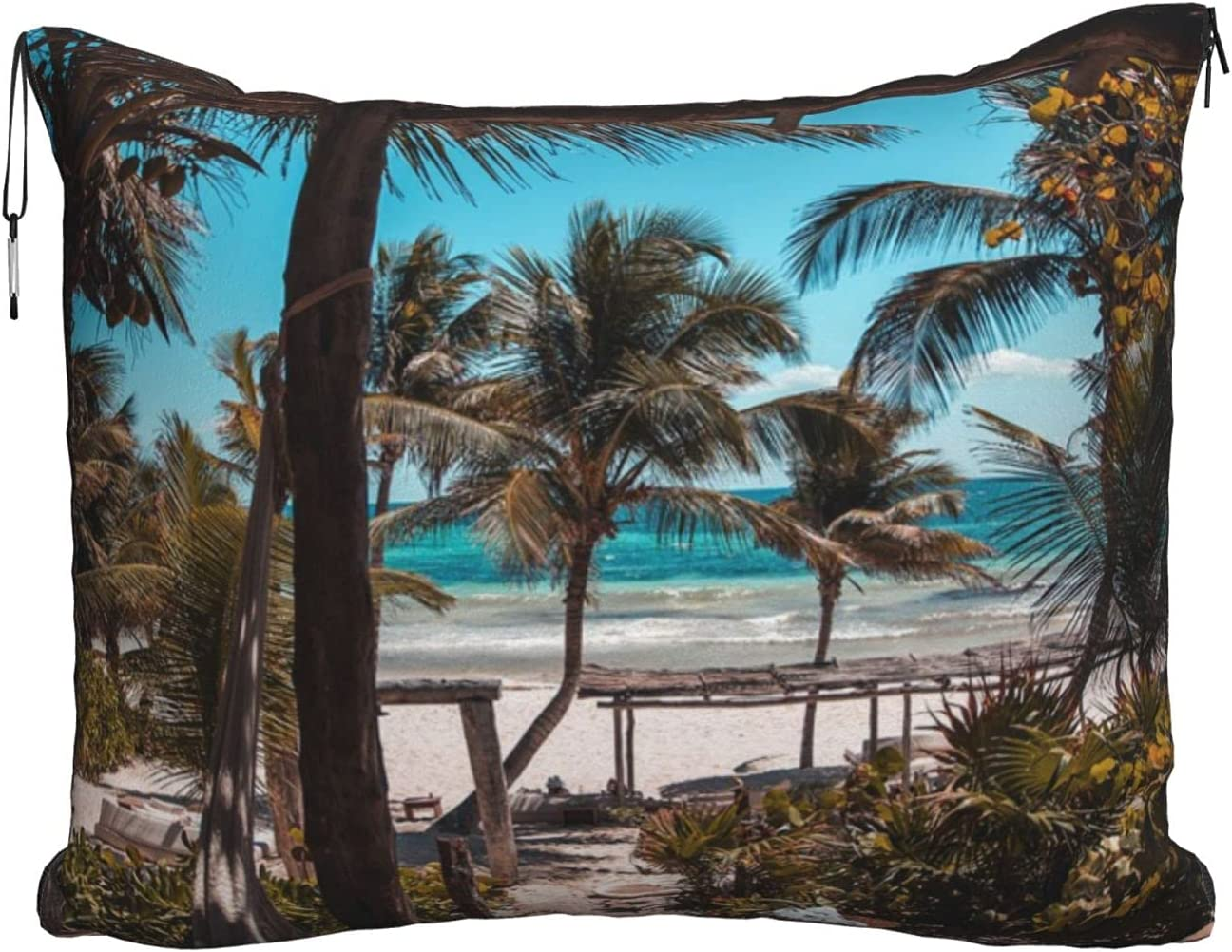 Mescchskbeach Palm OFFer Trees Print Travel Pillow Combo Blanket New Shipping Free Shipping Trave