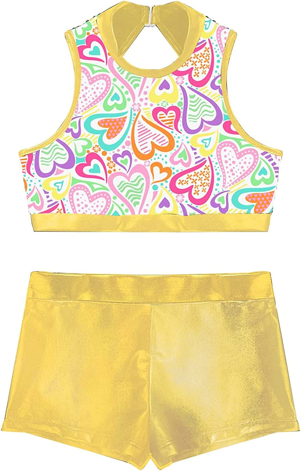 Moily Kids Girls Sequins Mock Neck Crop Top with Metallic Booty Shorts Athletic Dance Outfit Swimsuit