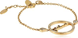Just logo Evo Full Yellow Gold Color Bracelet with White Stones - JCBR00740200