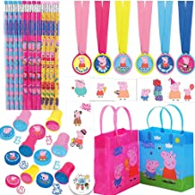 Peppa Pig Party Favors Pack For 12 Guests With Stampers, Pencils, Tattoos, Goodie Bags, Medals, and Exclusive Birthday Pin by Another Dream