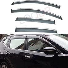 LQQDP 4pcs Smoke Tint With Chrome Trim Outside Mount Tape On/Clip On Style PVC Sun Rain Guard Vent Shade Window Visors Fit 12-16 Honda CRV CR-V
