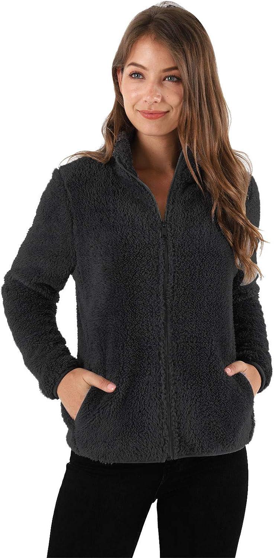 Les umes Damen-Sweatshirt, Fleece, mit Reißverschluss, leicht, Sherpa-Outwear, Mantel mit Taschen Schwarz