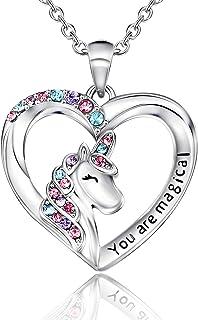 Unicorn Necklace for Women Girls CZ Stone Heart Pendant...