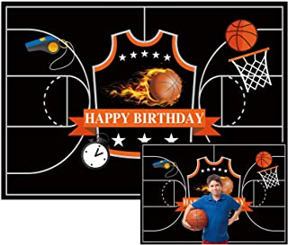 Allenjoy 7x5ft Basketball Sports Theme Photography Backdrop Supplies for Boys Kids Children Newborn Baby Shower 1st Birthday Party Cake Table Decoration Background Photo Studio Booth Props