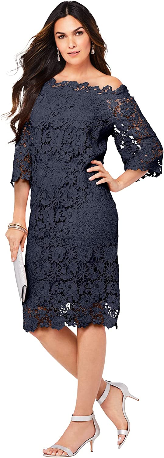 Roamans Women's Plus Size Off-The-Shoulder Lace Dress with Bell Sleeves