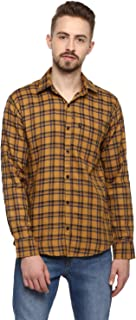 LEVIZO Men's Checkered 100% Cotton Casual Classic fit Full Sleeves Shirt Golden Size L