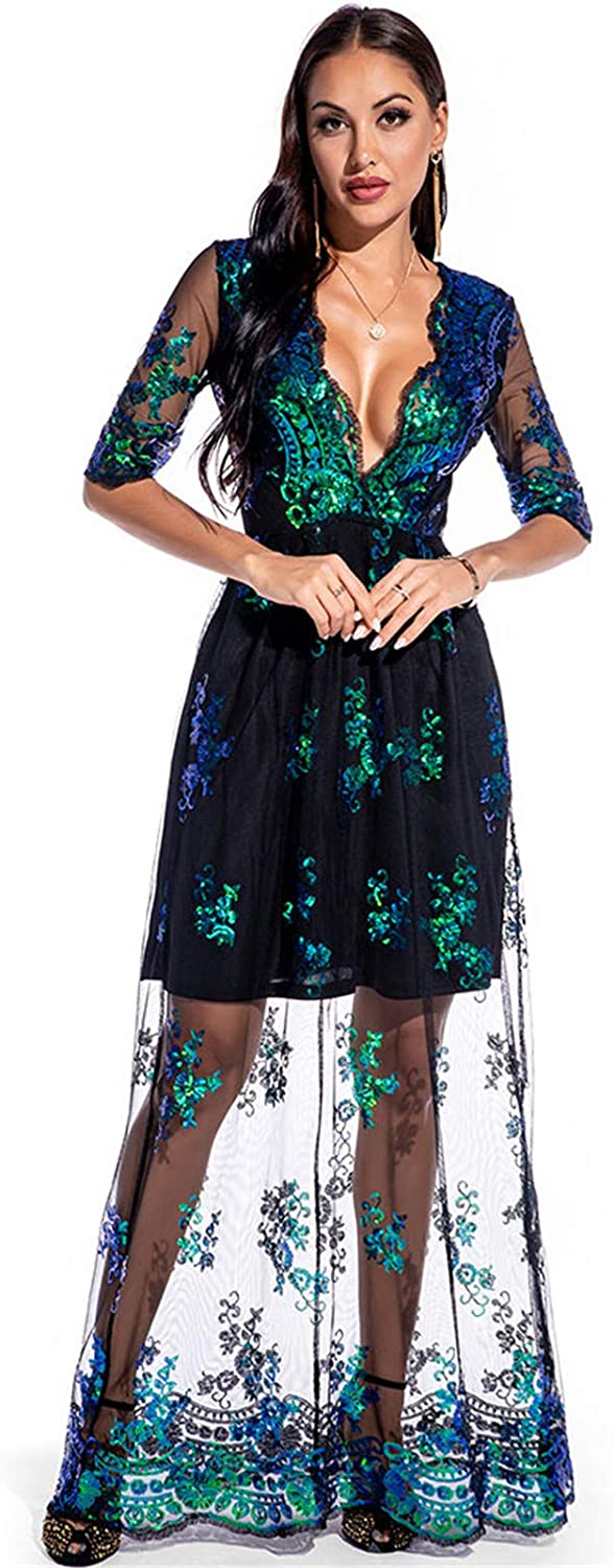 Yiwanjia Women V Neck Long Sleeve Mesh Maxi Dress Fashion Sequin Faux Wrap Waist Cocktail Party Evening Gown Dress