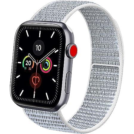Vancle コンパチブル Apple Watch バンド 38mm 40mm 42mm 44mm ナイロンスポーツループバンド iWatch Series 5/4/3/2/1に対応 (42mm/44mm, グレー)