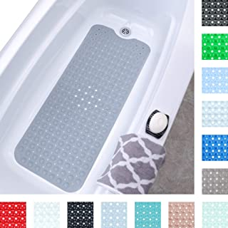 """SlipX Solutions Gray Extra Long Bath Mat Adds Non-Slip Traction to Tubs & Showers - 30% Longer Than Standard Mats! (200 Suction Cups, 39"""" Long Bathtub Mat)"""