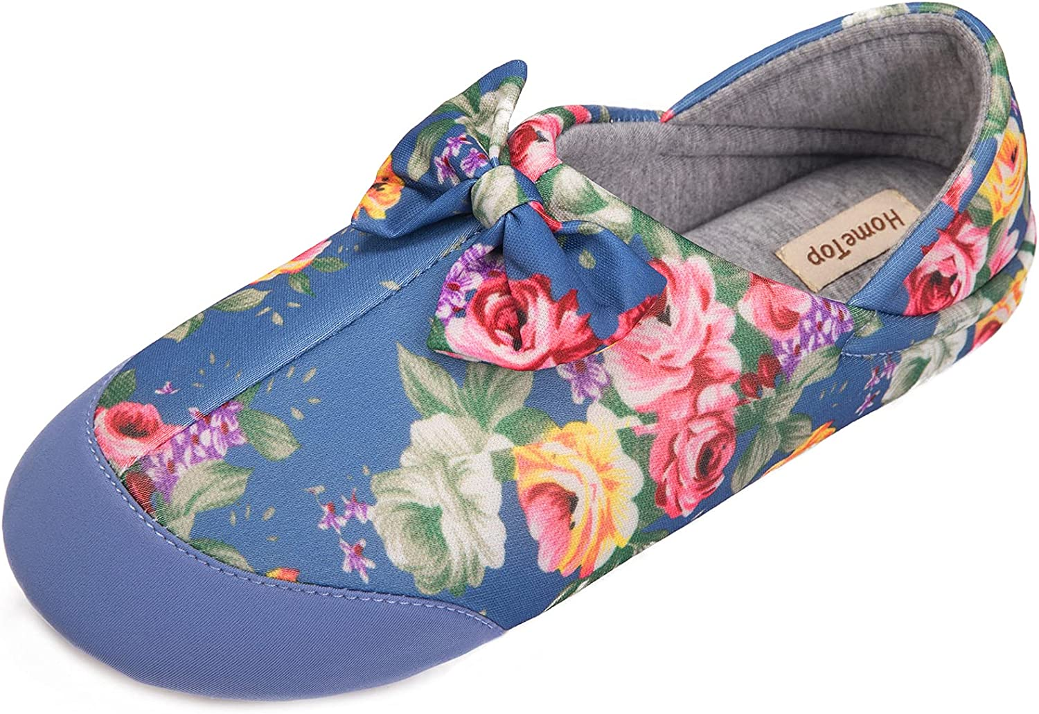 HomeTop Women's Lightweight Slippers Retro Printing Bowknot House Shoes