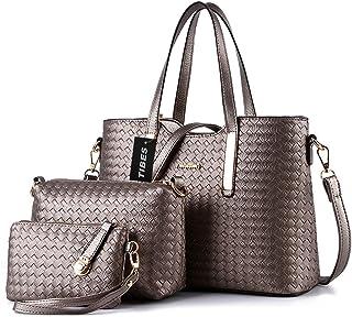 Tibes Fashion Pu Leather Handbag+Shoulder Bag+Purse 3Pcs Bag Grey