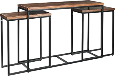 Signature Design by Ashley Jadenley Set of 3 Console Table Set, Brown/Black