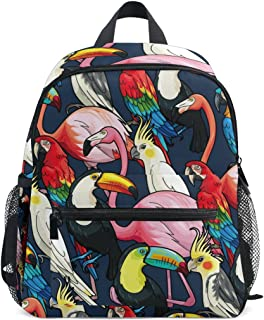 Mydaily Kids Backpack Tropical Birds Flamingo Parrot Nursery Bags for Preschool Children