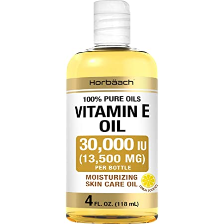 Vitamin E Oil 30,000 IU   4 fl oz   100% Pure Oils   Moisturizing Oil for Skin and Face   Non-GMO, Vegetarian   By Horbaach