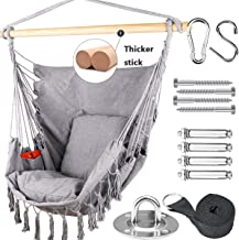 Tintonlife Hammock Chair Swing with Hanging Hardware Kits, Cotton Canvas Hammock Hanging Chair, Include 2 Cushions +Side P...