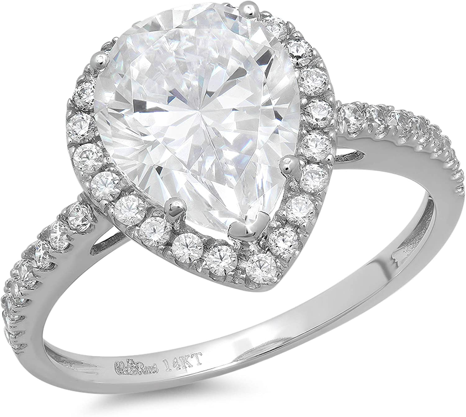 2.45ct Brilliant Pear Cut Solitaire with Accent Halo Stunning Genuine Lab Created White Sapphire Ideal VVS1 & Simulated Diamond Engagement Promise Anniversary Bridal Wedding Ring Solid 14k White Gold