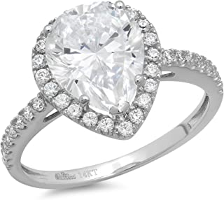 2.39ct Brilliant Pear Cut Solitaire with Accent Halo Quality Lab Created White Sapphire Ideal VVS1 & Simulated Diamond Engagement Promise Statement Anniversary Bridal Wedding Ring Real 14k White Gold