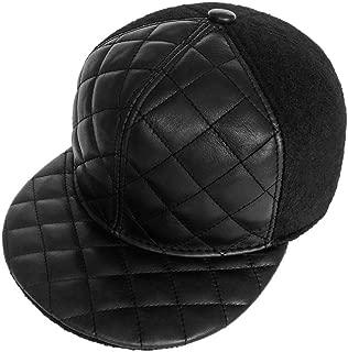 Strapback Baseball Cap Woolen & Lambskin Unisex Adjustable Flat Brim Hat