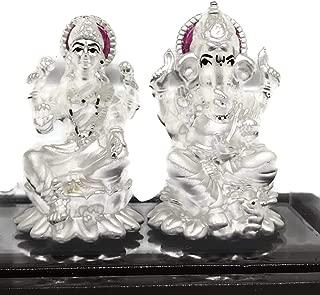 Balaji LLC Ganesh & Lakshmi/Laxmi Pure Silver (99.5%) Idol/Statue/Murti (Figurine# 11)
