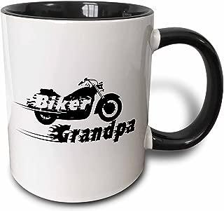 3dRose Biker Grandpa. motorbike motorcycle granddad. Fast bike. cool black and white flaming text. Grandad - Two Tone Black Mug, 11oz (mug_162588_4), 11 oz, Black/White