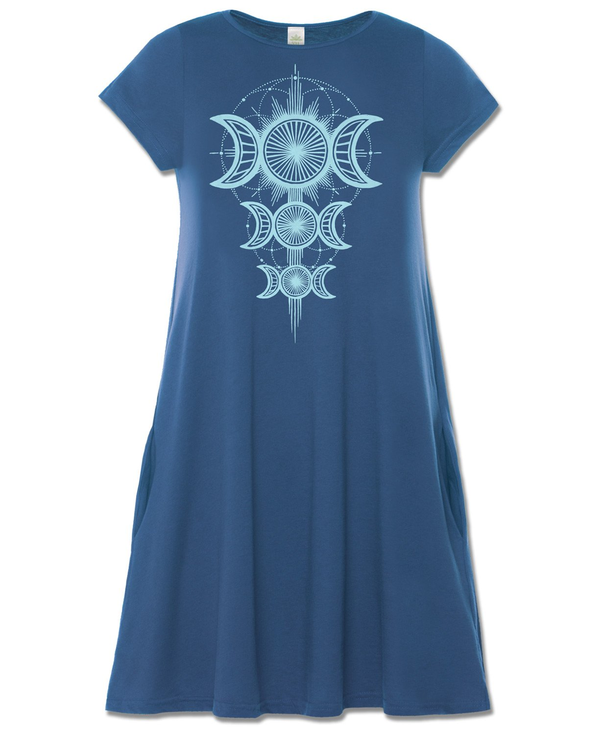 Available at Amazon: Soul Flower Organic Cotton Women's Moon Goddess T-Shirt Dress with Pockets Ladies Blue Crew Neck Flowy Graphic Swing Dress