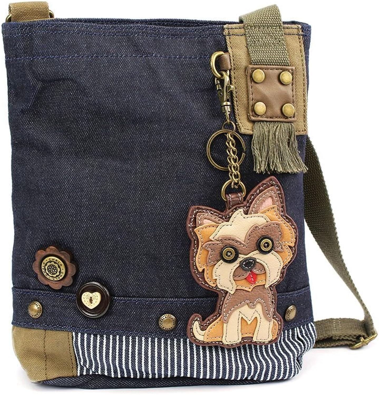 Chala Purse Handbag Denim Canvas Crossbody with Key Chain Tote Yorkie Puppy Dog