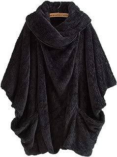 Aeneontrue Women's Dolman Sleeve Faux Fur Wrap Coats Jacket Outerwears Fuzzy Fleece Capes Ponch Coat