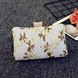Women's Embroidered Flower Evening Bag, Clutch, Crossbody Bag, Wedding Bag, Suitable for Party, Dating, Graduation Ceremony (Color : White)