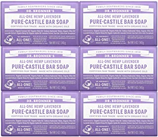 Dr. Bronner's - Pure-Castile Bar Soap (Lavender, 5 ounce, 6-Pack) - Made with Organic Oils, For Face, Body and Hair, Gentl...