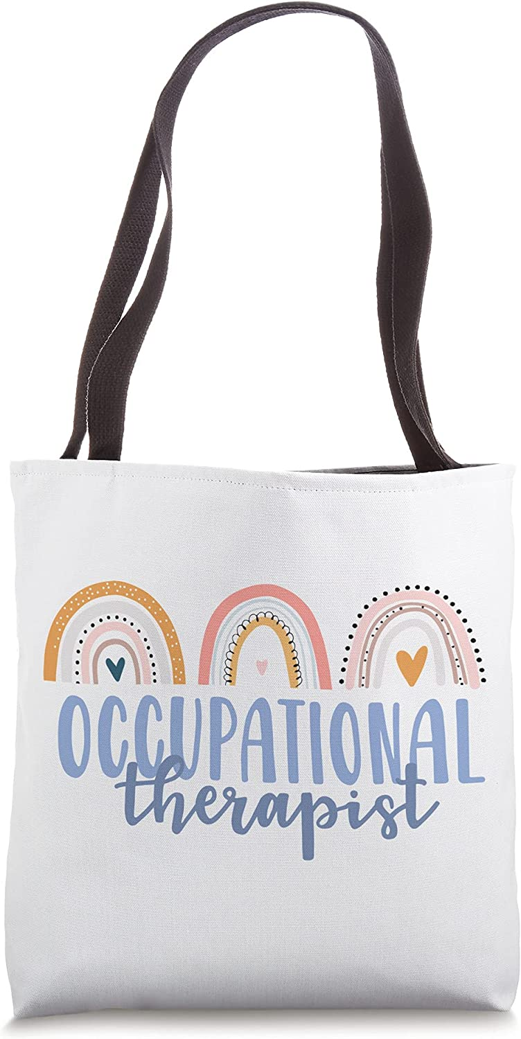 Occupational Therapy Worker OT Therapist Gift Boho Rainbow Tote Bag