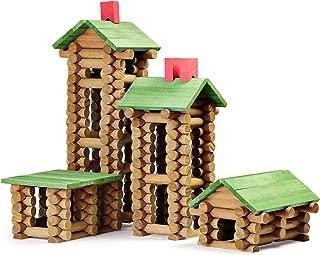 SainSmart Jr. Wooden Building Blocks STEM Wooden Construction Toy for Kids, Log Cabin Set Building House Toy for Preschooler with Colorful Blocks 450 PCS/Set