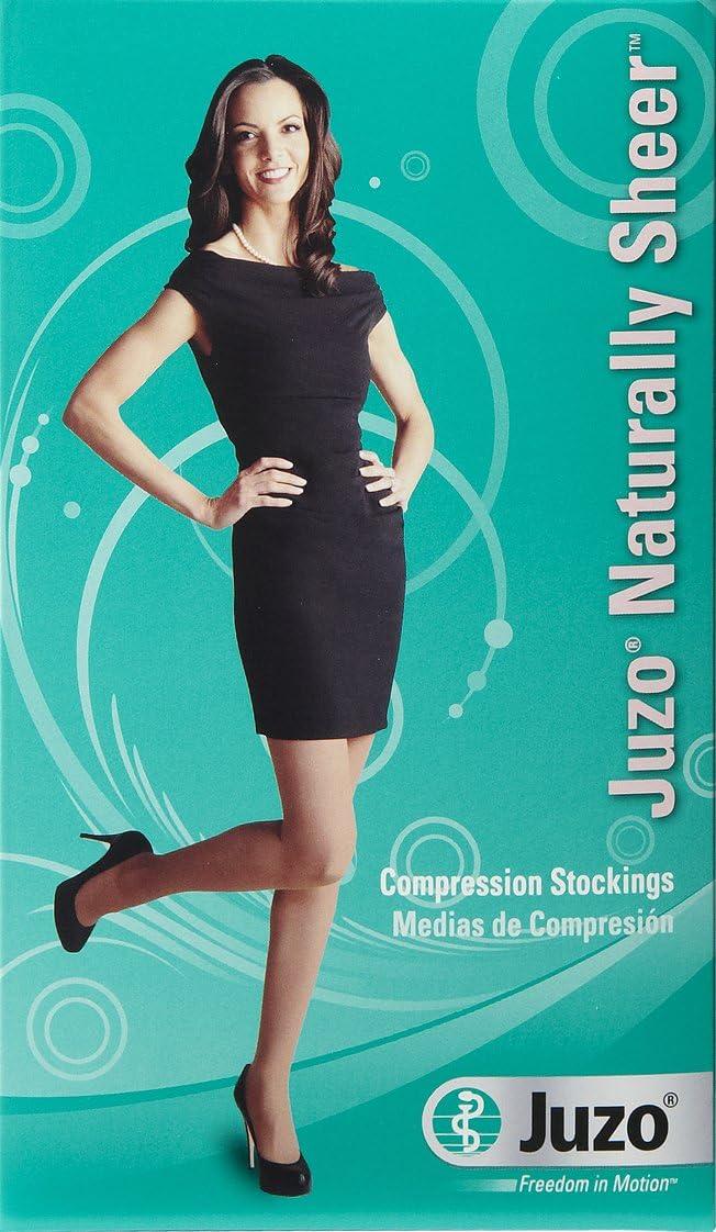 Juzo Naturally Sheer 2102AT Pantyhose 30-40mmhg (Black-Short-4 (IV)-Open Toe)
