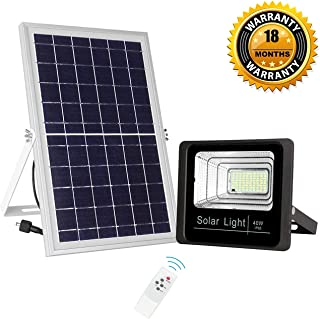 40W Solar Flood Light Outdoor Dusk to Dawn with Remote Control 3000 lumens Waterproof Security Light for Garden Yard Porch Garage
