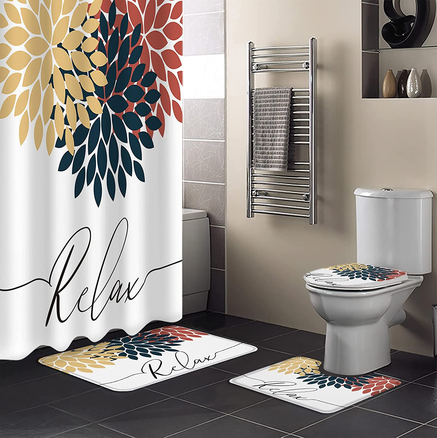 4Pcs Shower Curtain Sets with Fashion Bathroom Non-Slip free Blue Rugs Yellow