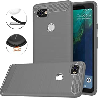 Google Pixel XL 2 Case, Google Pixel XL2 Case, Dretal Carbon Fiber Shock Resistant Brushed Texture Soft TPU Phone case Anti-fingerprint Flexible Full-body Protective Cover For Google Pixel 2 XL (Gray)