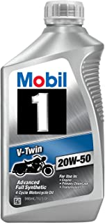 Mobil 1 96936 20W-50 V-Twin Synthetic Motocycle Motor Oil - 1 Quart (Pack of 6)
