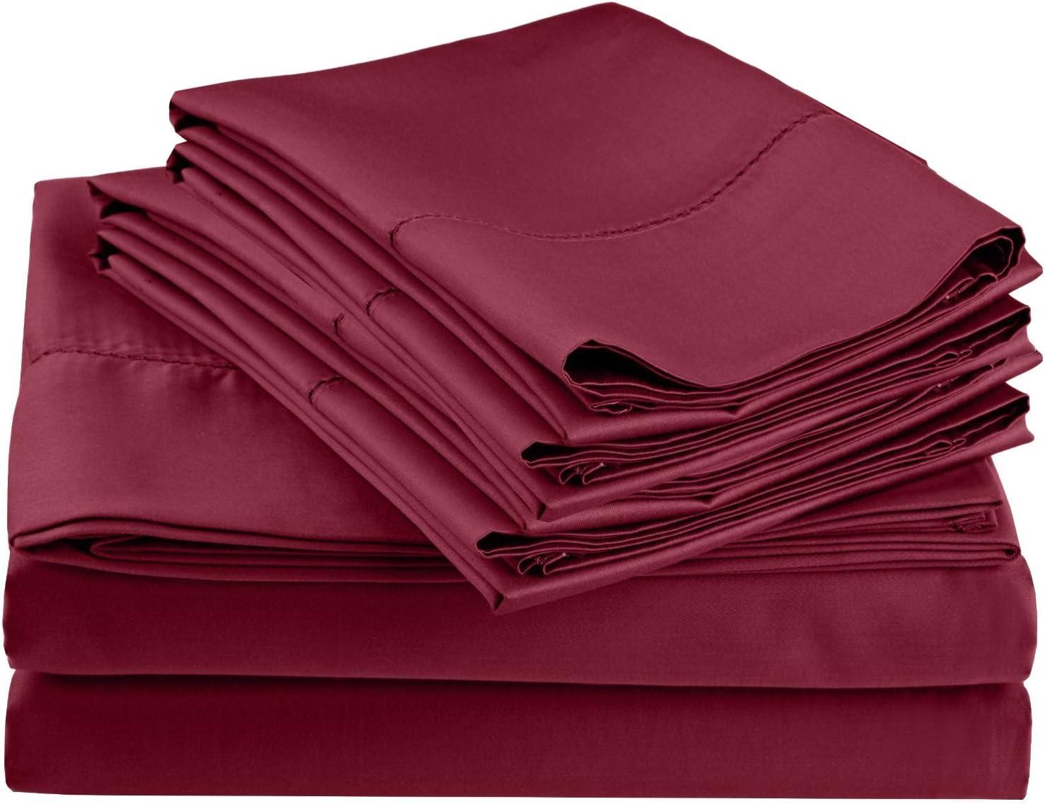 600 Thread Count Rich Hem Limited price sale Stitch Pillowcase Bonus Long-awaited Sheet with Set