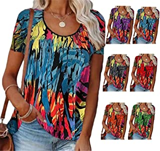 XWLY Women Short Sleeve Blouse Personality Fashion Summer Round Neck Women T-Shirts Exquisite Color Tie Dye Printing Desig...