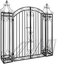 POCREATION Outdoor Black Ornamental Garden Gate, Entry Gates Driveway Cottage Gate Wrought Iron Driveway Security Gate wit...